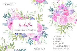 Isabella Watercolour Clip Art Set