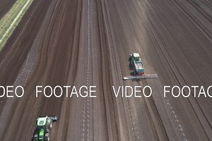 Tractor on agricultural lands is