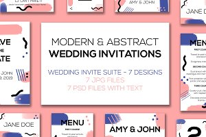 Modern Abstract Wedding Invite Suite