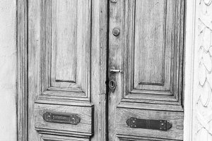 Vintage Door Detail in Black White
