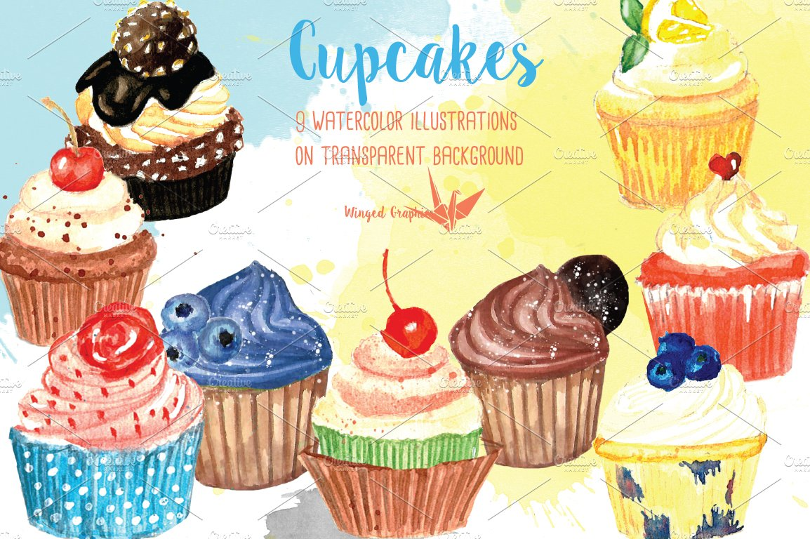 Watercolor Cupcake illustrations ~ Illustrations ~ Creative Market