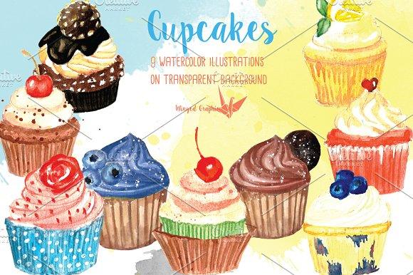 Watercolor Cupcake illustrations