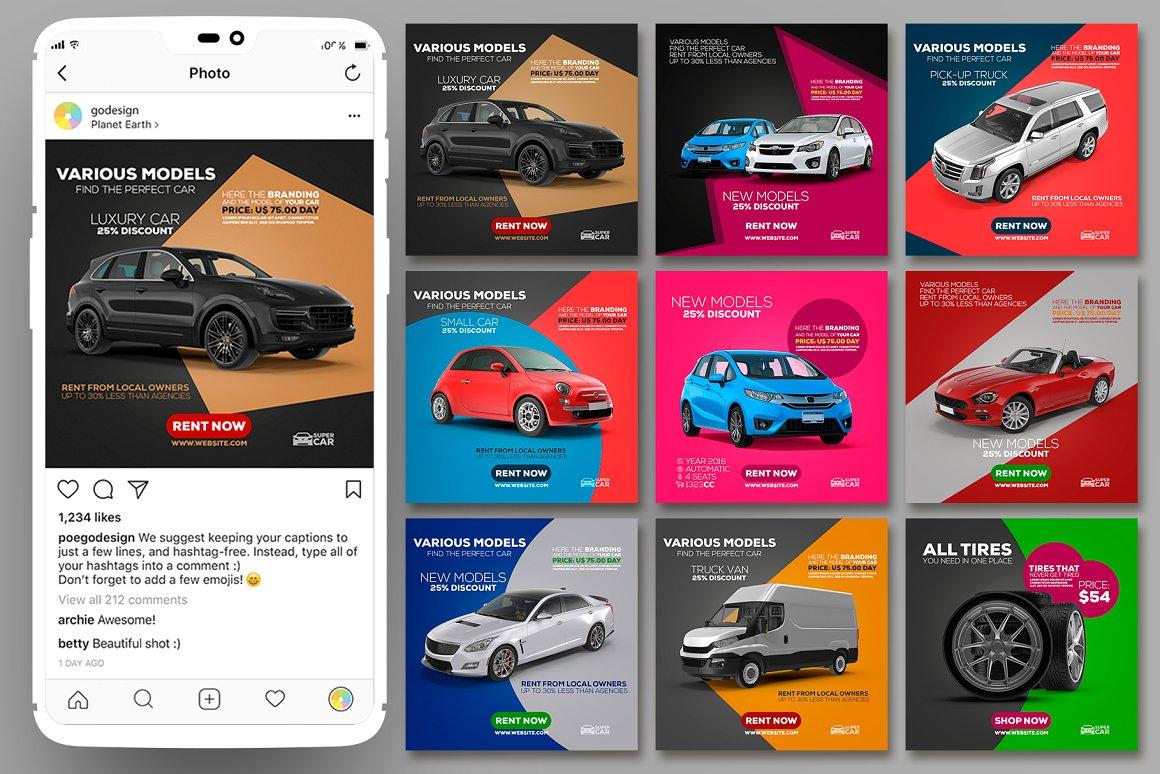 Instagram Posts Car Template