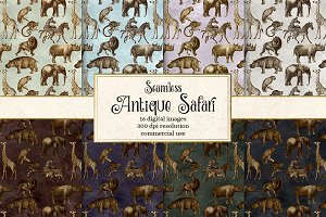 Antique Safari Patterns and Clipart