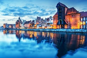 Gdansk old town at night, Poland