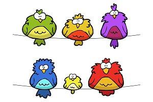 Doodle set of birds