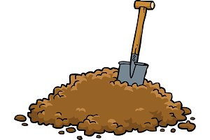 Shovel in a pile of earth