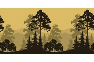 Seamless Landscape, Trees and