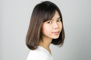 portrait of smiling asian young wome