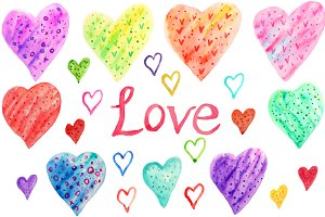Hand Drawn Watercolor Heart Clipart
