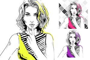 Fashion illustrations, 5 colors