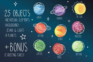 9 Space planets aquarelle elements