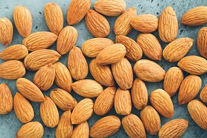 Fresh almond nuts. Top view.