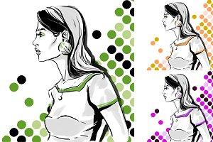 Fashion illustration, 5 colors