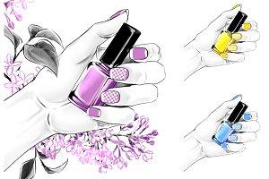 Fashion illustration, nail polish