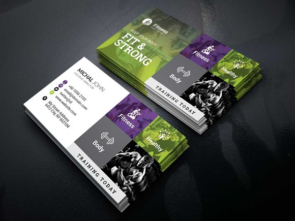 Gym fitness business card business card templates creative daddy previous next wajeb Images