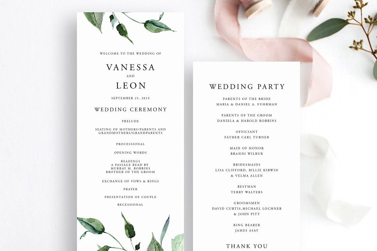 Wedding Ceremony Program Template.Greenery Wedding Ceremony Program