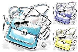Fashion illustration, woman bag