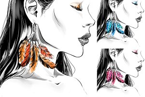Young woman, big earrings. Fashion