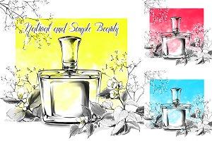 Perfume bottle glass fragrance water