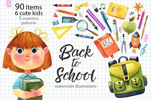 Back to school-watercolor set
