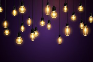 Retro bulbs hanging on violet