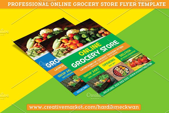online grocery store flyer template flyer templates creative market