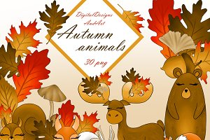 Autumn animals clipart