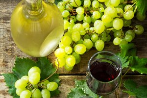 Wine background. White and red wine