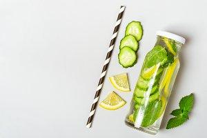 Cucumber lemon lemonade in bottle an