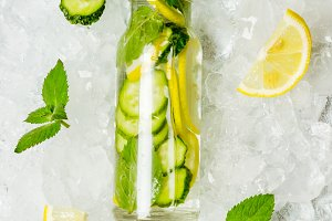Cucumber lemon lemonade and ingredie