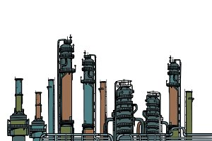 chemical plant, oil refining