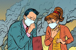 polluted air. man and woman. bad