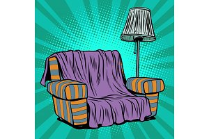 Armchair sofa with floor lamp