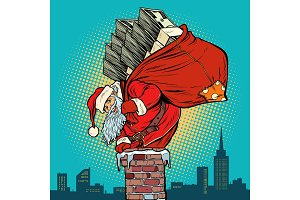 Santa Claus with money climbs into