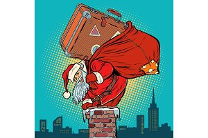 Santa Claus with a suitcase climbs