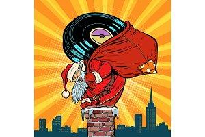 Santa Claus with vinyl records