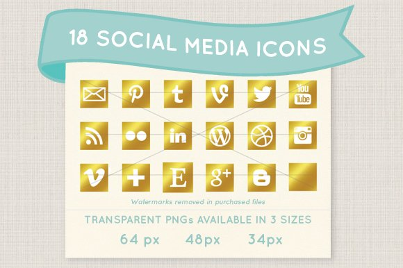Gold social media icons in Graphics