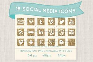 Gold glitter social media icons
