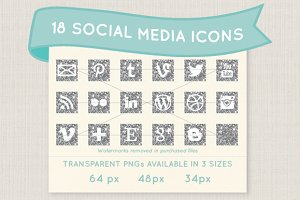 Silver glitter social media icons