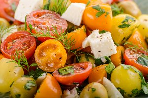 Fresh tomato olives salad feta chees