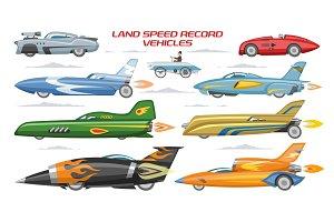Record speed car vector landspeed