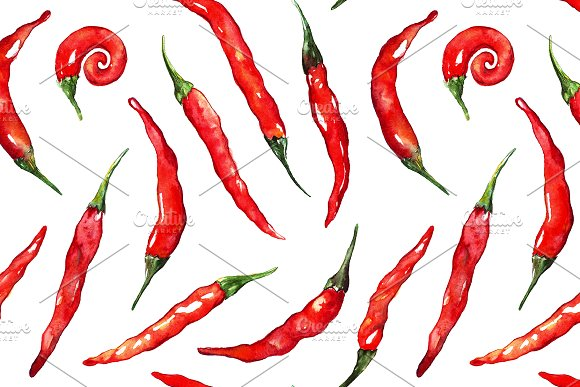 Watercolor red chili pepper pattern