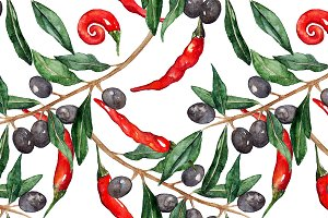 Watercolor chili pepper olive branch