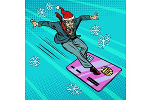 Christmas businessman and Bank card