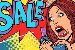 Sale, shopping season. Woman screams