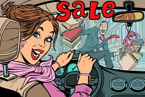 Woman driver goes to the sale