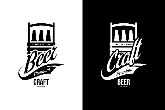 Craft beer brewery vector logo in Illustrations - product preview 2