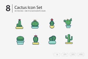 Cactus, Succulents Icon Set
