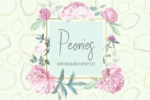 Peonies Clipart Watercolor Set